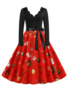 Milanoo / Retro Dress 1950s Red Christmas Pattern Woman Long Sleeves Designed Neckline Swing Dress