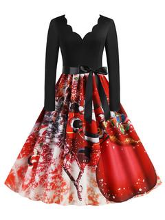 Milanoo / Vintage Dress 1950s Red Christmas Pattern Woman Long Sleeves V Neck Swing Dress