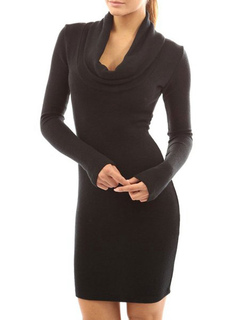Milanoo / Bodycon Dresses Black Long Sleeves Casual Cowl Neck Body Conscious Dress Sheath Dress