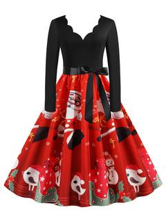 Milanoo / Retro Dress 1950s V Neck Long Sleeves Woman Christmas Pattern Swing Dress