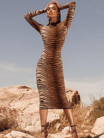 Milanoo / Long Bodycon Dresses Tiger Print Long Sleeves High Collar Sheath Dress