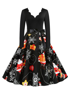 Milanoo / Retro Dress 1950s Designed Neckline Long Sleeves Woman Christmas Pattern Swing Dress