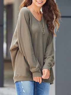 Milanoo / Woman Oversized Sweatshirt Long Sleeves Pullover