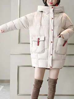 Milanoo / Oversized Puffer Coats Hooded Pockets Zipper Long Sleeves Bubble Coat
