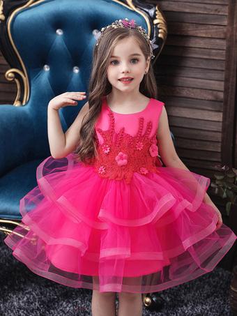 Milanoo / Flower Girl Dresses Jewel Neck Tulle Sleeveless Knee Length Princess Silhouette Beaded Kids Party Dresses