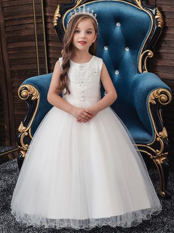 Milanoo / Flower Girl Dresses Jewel Neck Polyester Cotton Sleeveless Ankle Length Princess Silhouette Beaded Kids Party Dresses