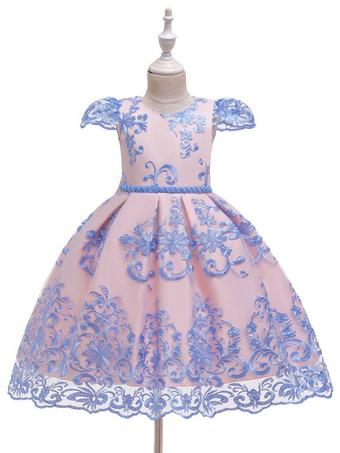 Milanoo / Flower Girl Dresses Jewel Neck Short Sleeves Embroidered Kids Party Dresses