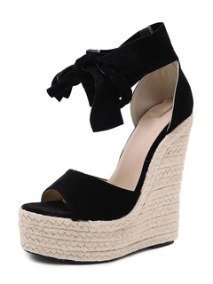 Milanoo / Women's Espadrille Sandals Wedge Heel Bohemian Ankle Strap