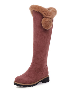 "Milanoo / Knee Length Shearling-lined Boots Chunky Heel 1.6"" Women Boots"