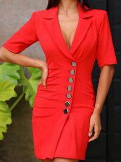 Milanoo / Bodycon Blazer Dresses Red Half Sleeves Buttons Turndown Collar Sheath Dress
