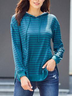 Milanoo / Women Stripe Hoodie Long Sleeves Hooded Sweatshirt