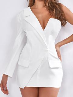Milanoo / Bodycon Dresses White Long Sleeves One-Shoulder Midi Dress Sheath Dress