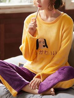 Milanoo / Sleepwear Yellow 2-Piece Jewel Neck Long Sleeves Flannel Lingerie Pajamas