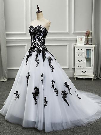 Weiße brautkleider schwarz Elegante Schwarz