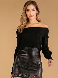 Milanoo / Women Pullover Sweater Black Crochet Long Sleeves Stretch Acrylic Sweaters