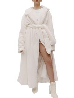 Milanoo / Faux Fur Coats Long Sleeves Faux Fur Coat White Women Coat