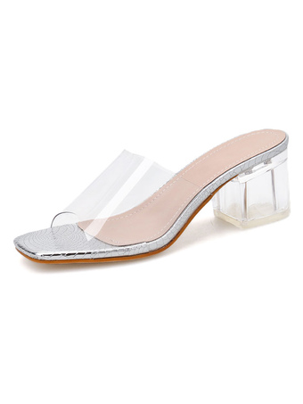 Milanoo / Women's Transparent Mules Clear Sandals Square Toe Chunky Heel Summer Shoes
