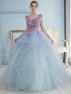 Blue 2019 Quinceanera Dresses Ball Gown Strapless Floor Length Organza Tiered Appliques Lace Flowers Cheap Sweet 16 Dresses Weddings & Events