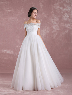 3f77e17a609 Princess Wedding Dress Off The Shoulder Tulle Bridal Dress Ivory Lace Floor  Length Bridal Gown