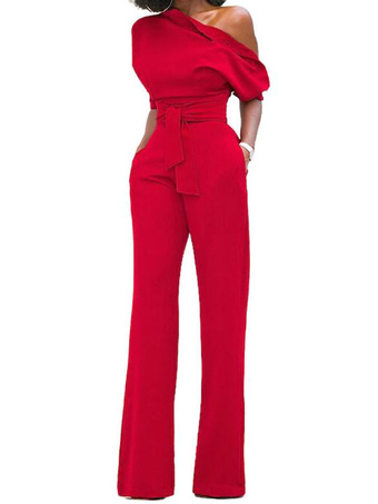 4f0d197489 Black Women Jumpsuit One Shoulder Short Sleeve Asymmetrical Straight Leg  Long Jumpsuits