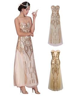 25b8d48b6 Great Gatsby Flapper Dress 1920s Vintage Costume Women's Sequined Gold Maxi  Dress Halloween