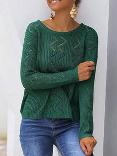 Milanoo / Women Pullover Sweater Dark Green Jewel Neck Long Sleeves Sheer Acrylic Sweaters