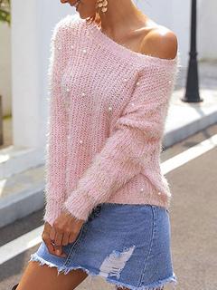 Milanoo / Pullovers For Women Pink Studded Jewel Neck Long Sleeves Open Shoulder Acrylic Sweaters
