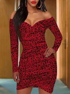 Milanoo / Bodycon Dresses Leopard Long Sleeves Pleated Sexy Sweetheart Neck Body Conscious Dress Sheath Dress