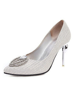 Milanoo / Crystal Prom Heels Luxury Embellished Silver Pumps Pointed Toe Stiletto Heel Wedding Shoes