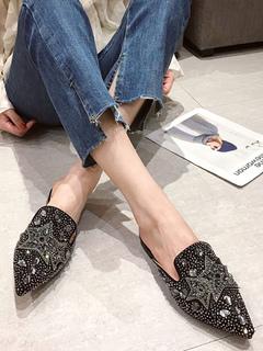 Milanoo / Black Flat Mules Suede Leather Pointed Toe Rhinestones Slip On Slide Shoes