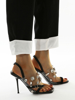 Milanoo / Black High Heel Sandals Women Open Toe Rhinestones Slingbacks Clear Shoes