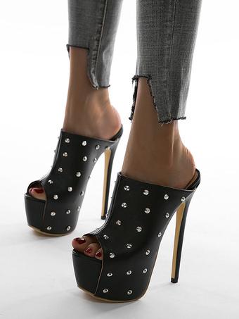 Milanoo / Women Sexy Sandals Black Leather Open Toe Platform Sexy Shoes