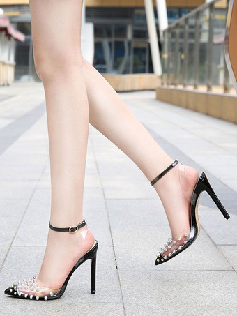 Milanoo / Heel Sandals Sandals Black Rivets Stiletto Heel Pointed Toe Slingback Ankle Strap Party Shoes