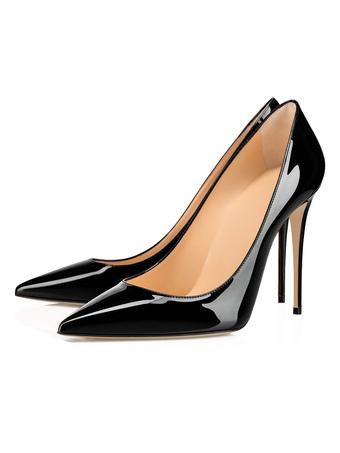 Milanoo / Black High Heels Women Pointed Toe Slip-On Stiletto Heel Pumps Dress Shoes