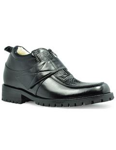 Moda Elevator Shoes maschile suola di gomma in pelle di mucca nera