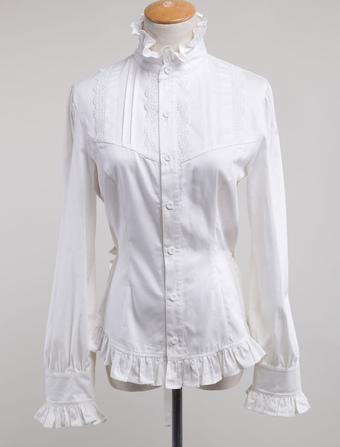 24198bad69d817 White Lolita Blouse Cotton Long Sleeves High Collar Ruffles Lolita Top