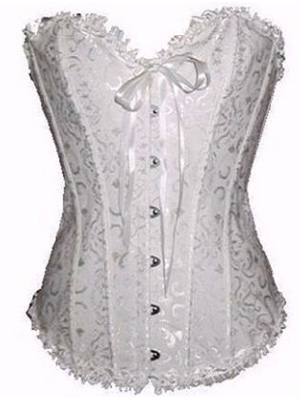 Floral Bow Front Button Jacquard Womens Corsets