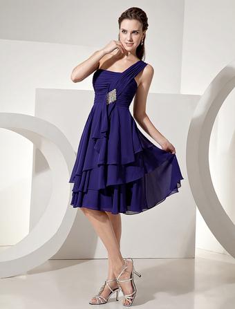 Chiffon Bridesmaid Dress Royal Purple Knee Length One Shoulder Tiered Prom Dress