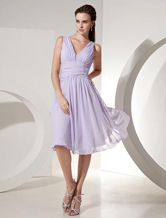 e9db213b8cd2 Lilac Bridesmaid Dress V Neck Ruched Chiffon A Line Knee Length Short Prom  Dress