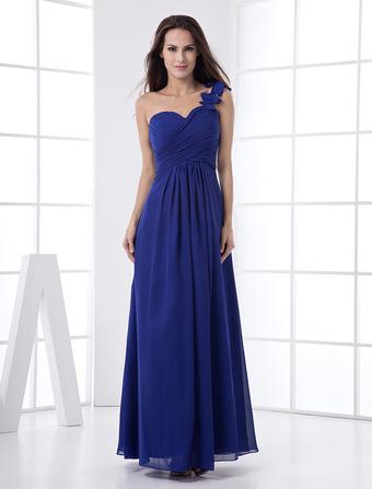 b061e7a7d3 Abito da damigella d'onore blu royal in chiffon con monospalla e stile  imperiale a