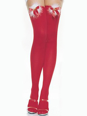 Sweet Red Velvet Bow Over The Knee Women's Stockings