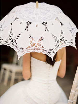 White Lace Canopy Wood Handle Wedding Umbrella