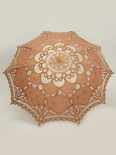 Brown Cut Out Lace Wood Wedding Umbrella