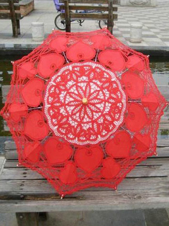 Red Cut Out Lace Bridal Wedding Umbrella