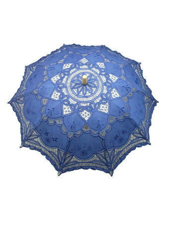 Mysterious Blue Wood Lace Wedding Umbrella