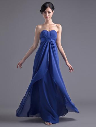 Blue Bridesmaid Dress Floor-Length Strapless Ruched Sheath Chiffon Dress
