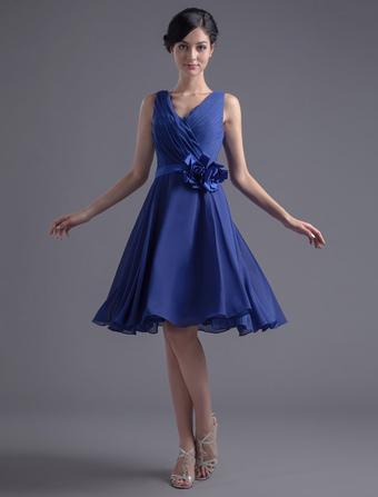Blue Bridesmaid Dress Knee-Length Deep-V Backless Sash Ruched Chiffon Dress