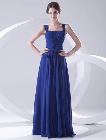 Blue Bridesmaid Dress Floor-Length Straps Sheath Ruched Chiffon Dress