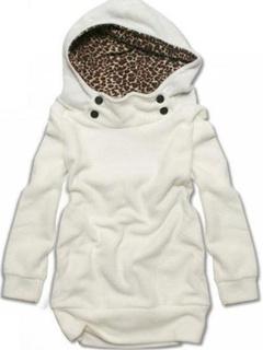 White Leopard Print Women's Hoodie