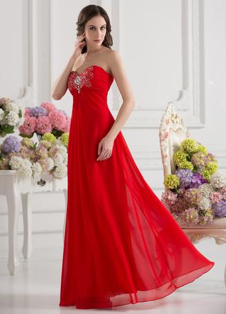 Elegant Red Beading Sweetheart Women's Evening Dress